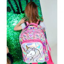 Mochila LED lentejuelas Unicornio adaptable 44cm