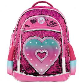 Mochila LED lentejuelas Heart adaptable 45cm