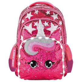 Mochila LED lentejuelas Unicornio adaptable 45cm