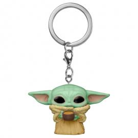 Llavero Pocket POP Star Wars The Mandalorian Yoda The Child with Cup